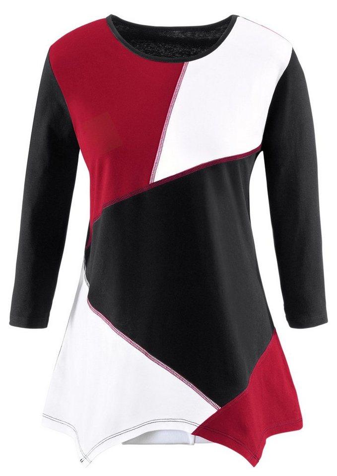 Classic Basics Shirttunika mit asymmetrischem Saum in schwarz-rot