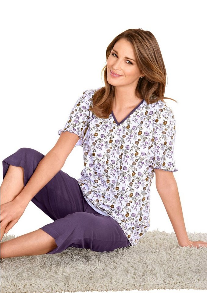 Capri-Schlafanzug in flieder-bedruckt