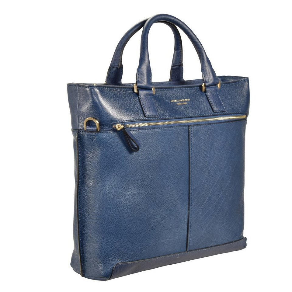 Piquadro Cartella Aktentasche Leder 36 cm Laptopfach in blau
