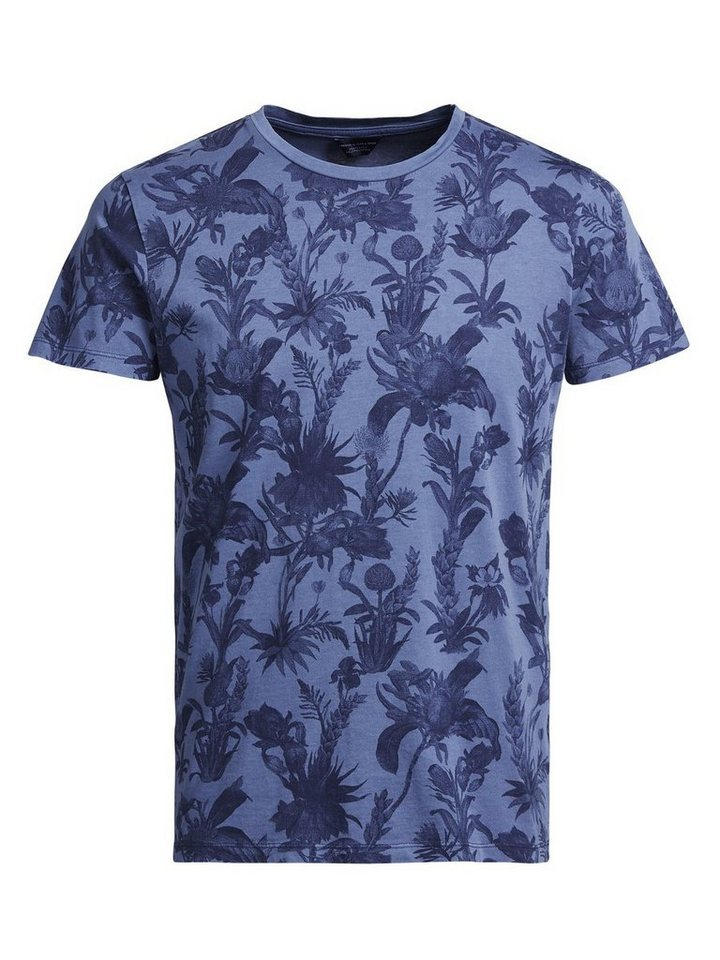 Jack & Jones Blumen-Print T-Shirt in Bright Cobalt