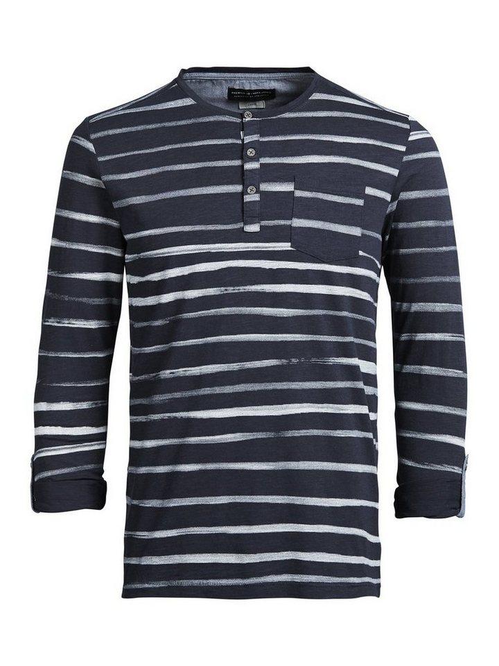 Jack & Jones Gestreiftes T-Shirt mit langen Ärmeln in Whisper White