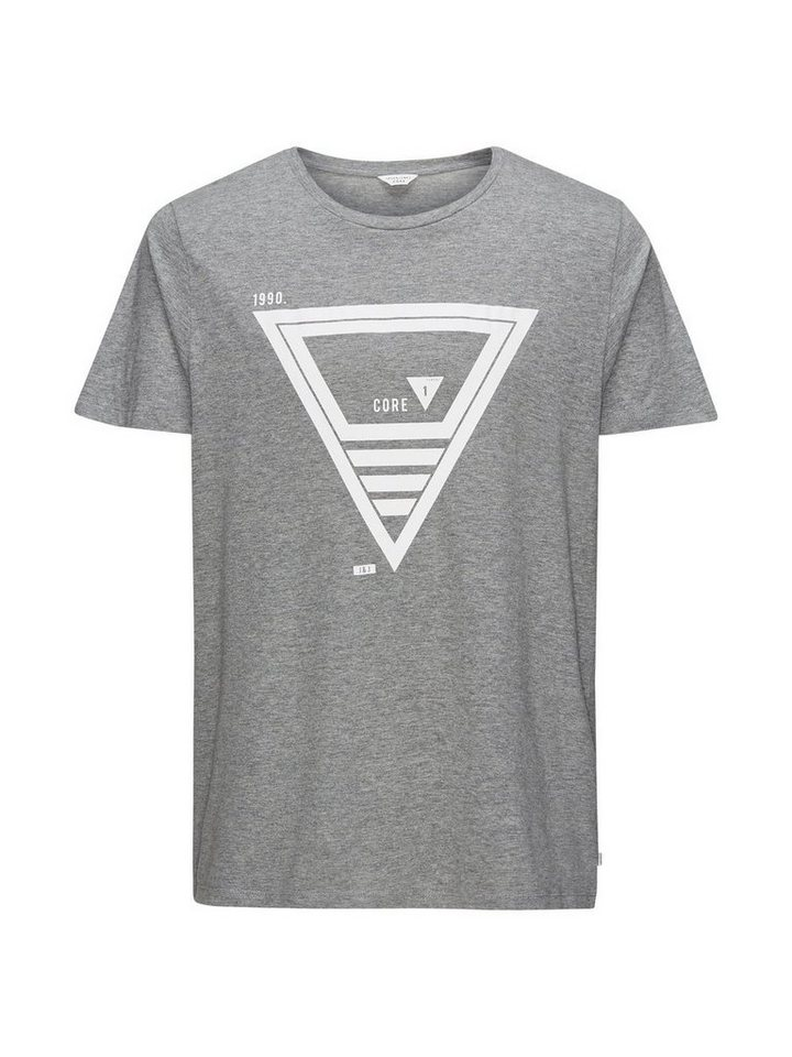 Jack & Jones Schlichtes Grafik- T-Shirt in Light Grey Melange