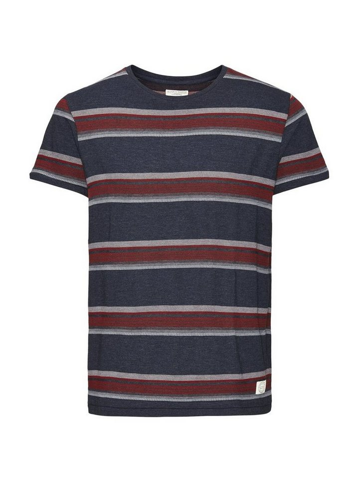 Jack & Jones Gestreiftes Jacquard T-Shirt in Mood Indigo