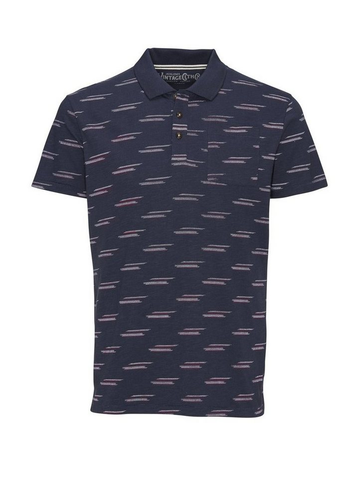 Jack & Jones Gemustertes Poloshirt in Mood Indigo