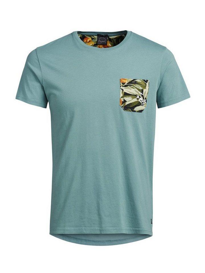Jack & Jones Blumendetailliertes T-Shirt in Mineral Blue