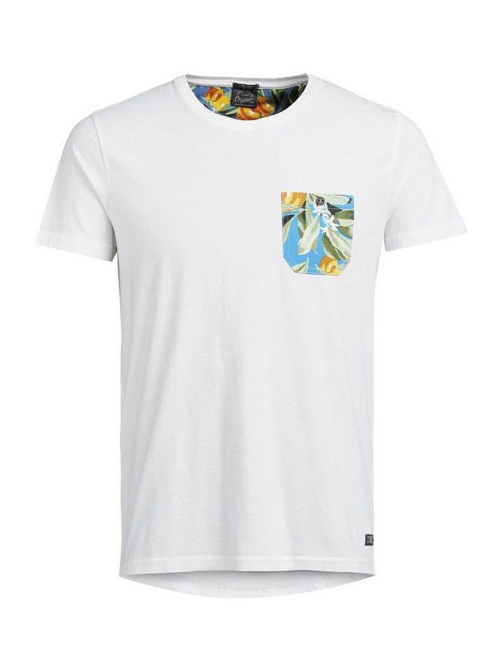 Jack & Jones Blumendetailliertes T-Shirt in Cloud Dancer