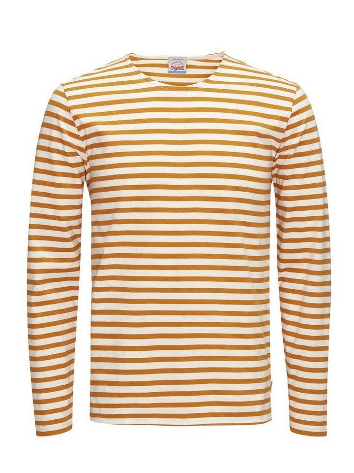 Jack & Jones Gestreiftes, langärmeliges T-Shirt in Inca Gold