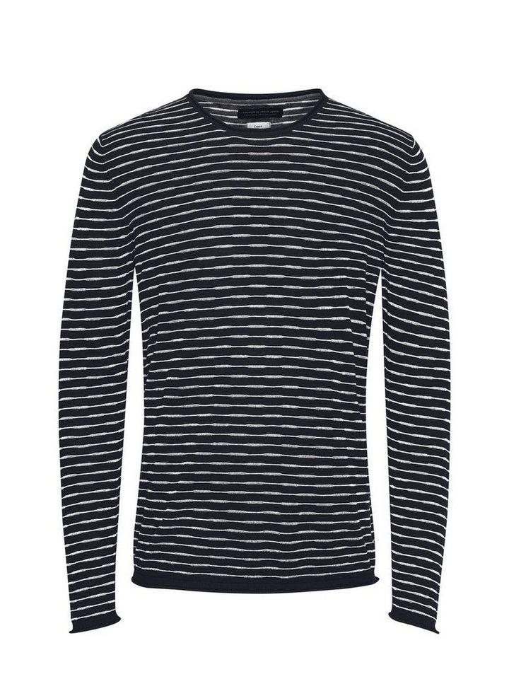 Jack & Jones Leinenmischfaser Streifen- Pullover in Navy Blazer