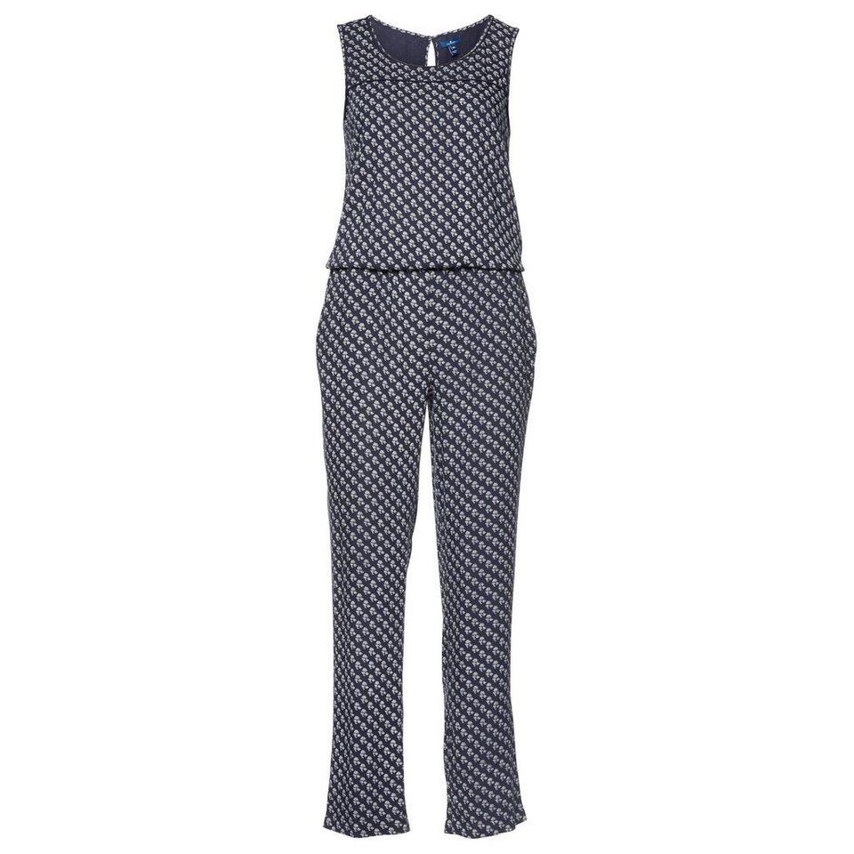TOM TAILOR Kleid »sommerlicher Jumpsuit mit Print« in real navy blue