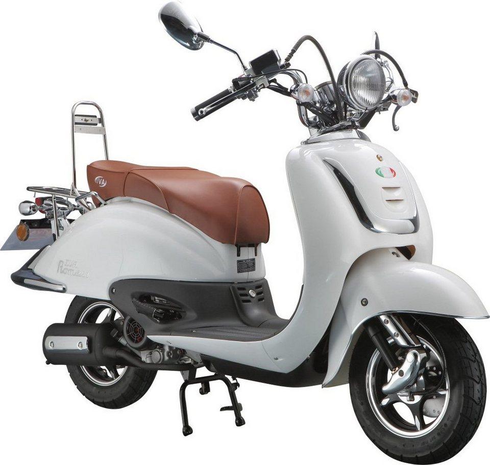 IVA Motorroller Retro, 125 ccm 75 km/h, weiß, »ROMA« in weiß