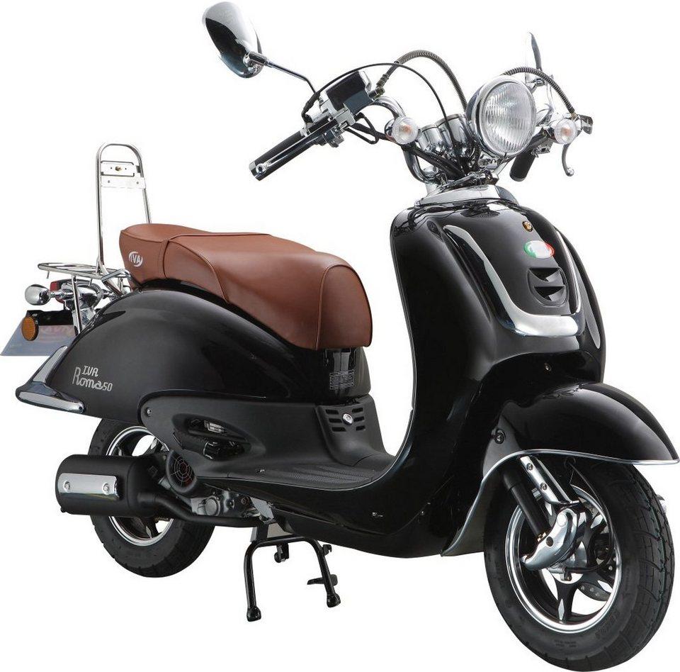 IVA Motorroller Retro, 125 ccm 75 km/h, schwarz-glanz, »ROMA« in schwarz-glanz