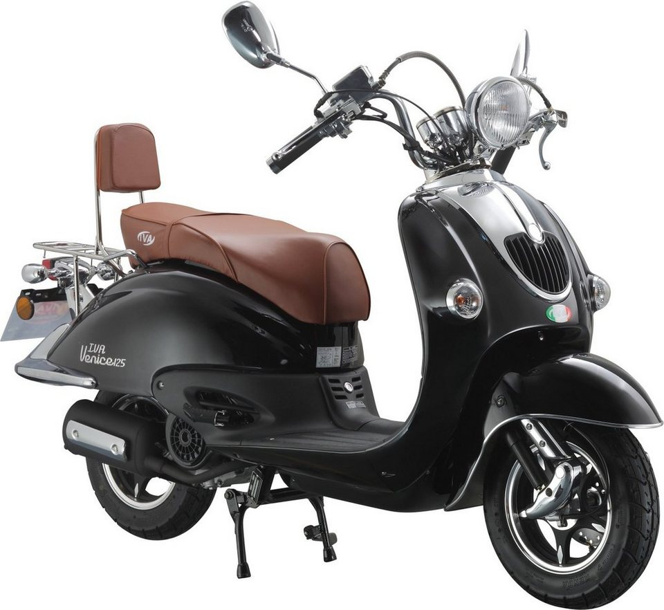 IVA Motorroller Retro, 125 ccm 75 km/h, schwarz-glanz, »VENICE« in schwarz glanz