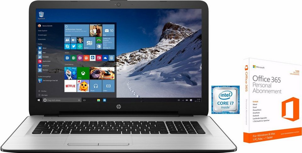 HP 17-x Notebook, Intel® Core™ i7, 43,9 cm (17,3 Zoll), 1000 GB Speicher, 8192 MB DDR4-RAM in weiß