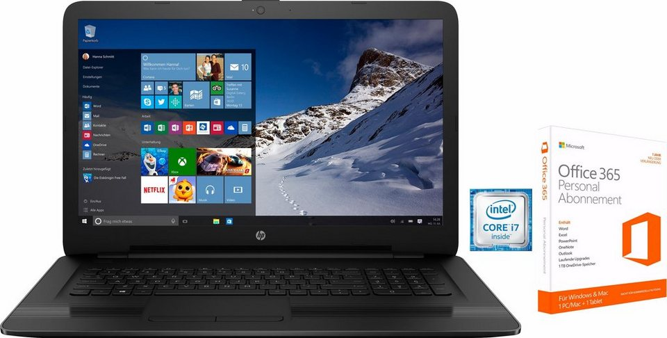 HP 17-x Notebook, Intel® Core™ i7, 43,9 cm (17,3 Zoll), 1000 GB Speicher, 8192 MB DDR4-RAM in schwarz