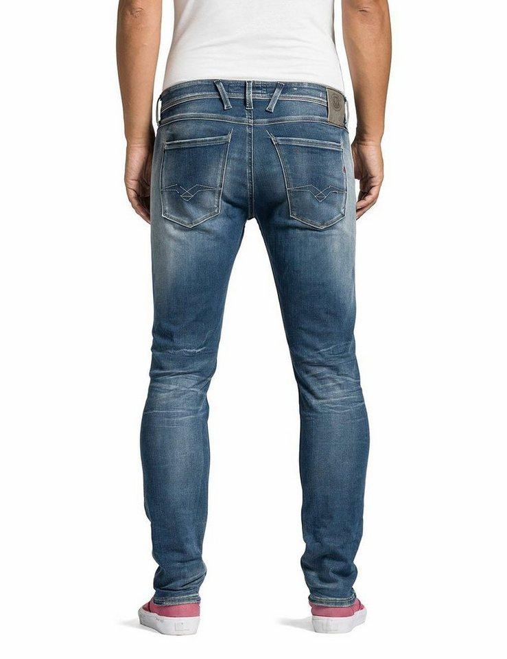 Replay Slim-fit-Jeans »Anbass Hyperflex« in mid-blue-denim