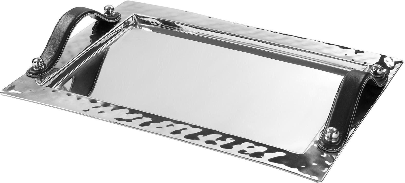 Fink Metall-Tablett mit Ledergriffen »PIATTO«