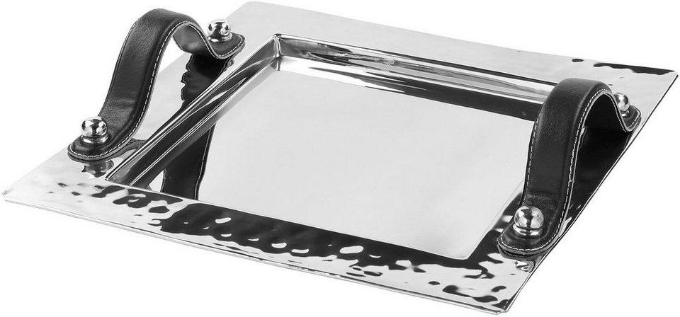 Fink Metall-Tablett mit Ledergriffen »PIATTO« in zwei Größen in silberfarben