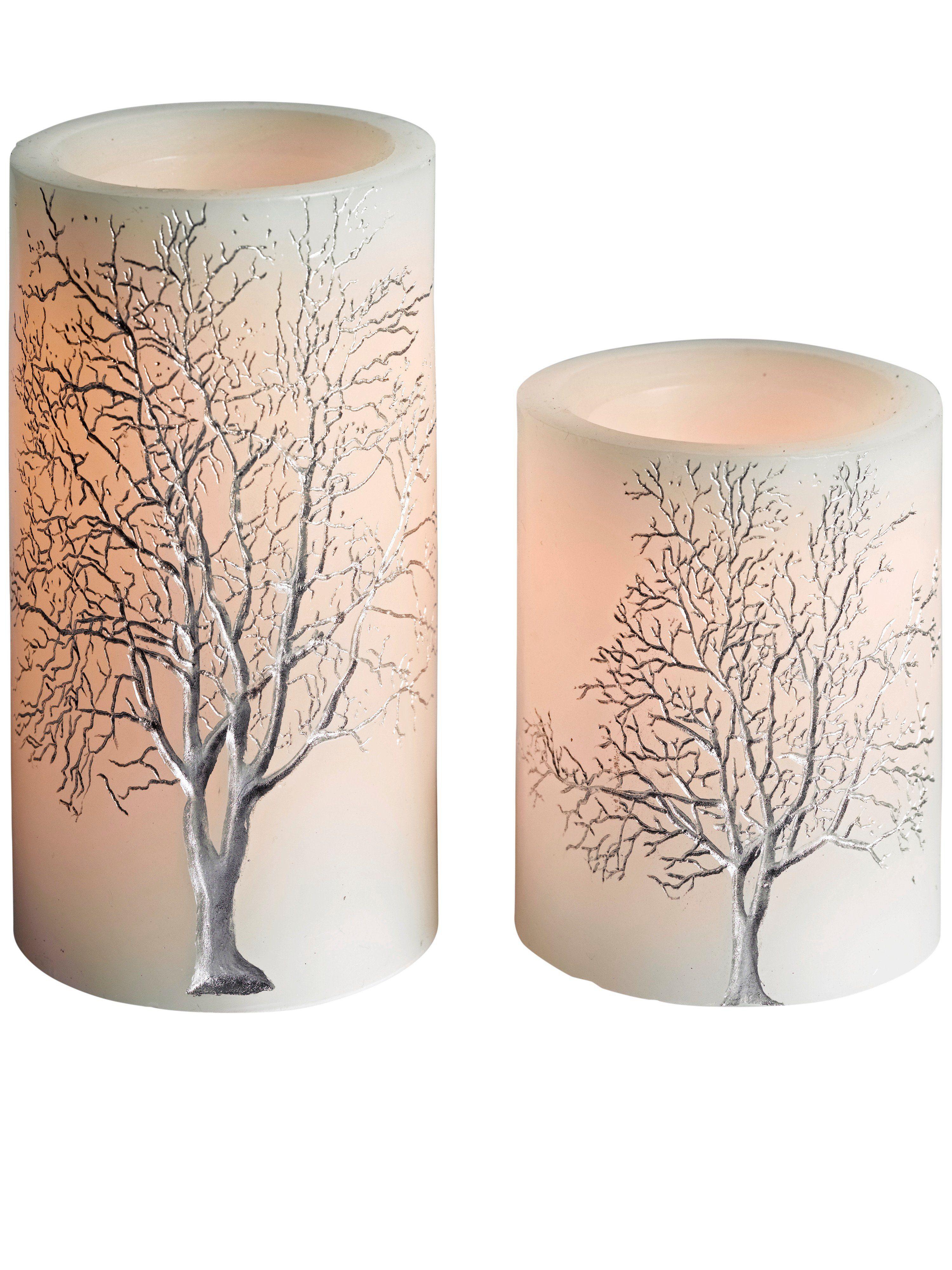 heine home LED-Kerzen, 2er-Set In Rinden-Optik