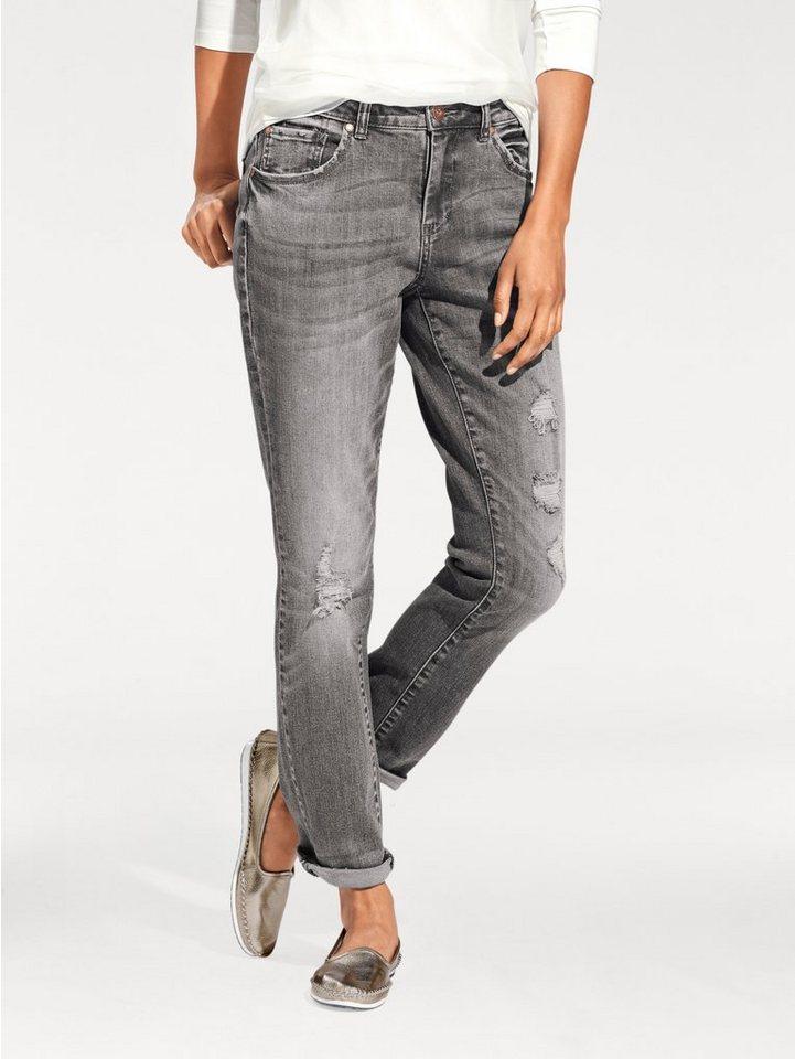 Boyfriend-Jeans in silbergrau