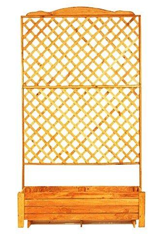 Holzspalier mit Pflanzkasten in braun