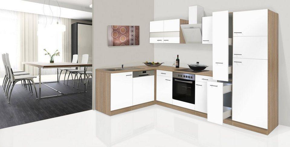 Küchenzeile mit E-Geräten »Hamburg, Breite 170 x 310 cm« in weiß