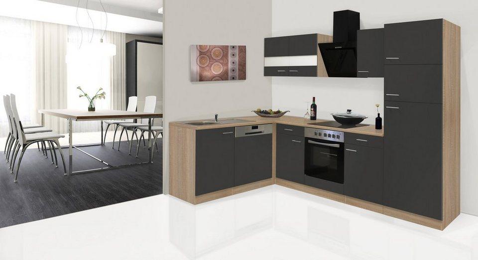 Küchenzeile mit E-Geräten »Hamburg, Breite 170 x 280 cm« in grau