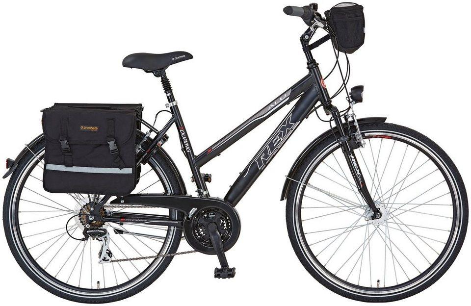 Trekkingrad (Damen) »ENTDECKER 620, 28 Zoll«, SHIMANO Acera 24 Gang, Inkl. Fahrradtaschen in schwarz