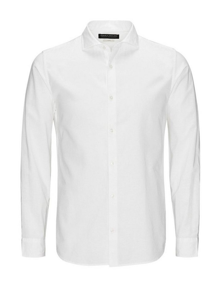 Jack & Jones Leinenmischfaser, Kentkragen- Businesshemd in White