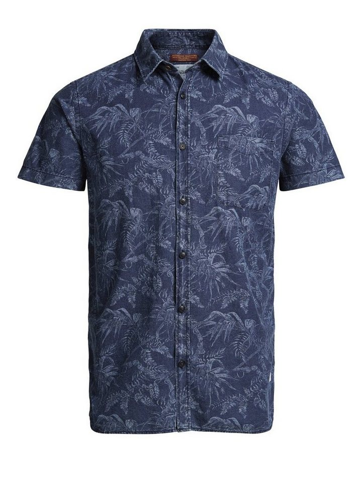 Jack & Jones Blumen-Print- Kurzarmhemd in Dark Blue Denim