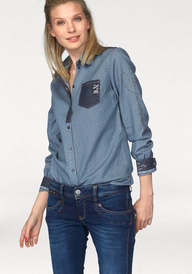 KangaROOS Jeansbluse mit trendigem Materialmix in blau-denim