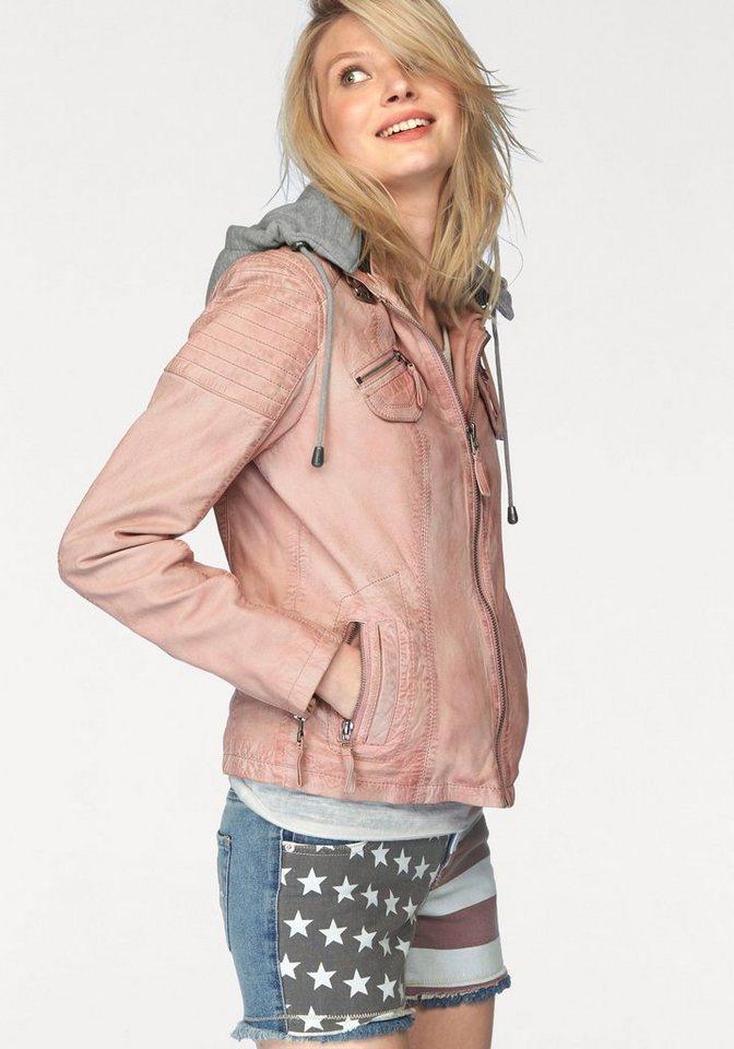 KangaROOS Lederjacke mit Kapuze aus Jersey in rosa-washed