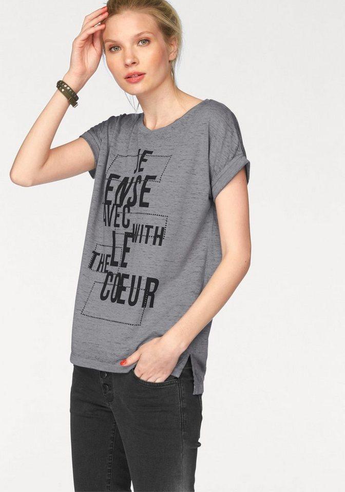Q/S designed by T-Shirt mit Statement-Print in dunkelgrau