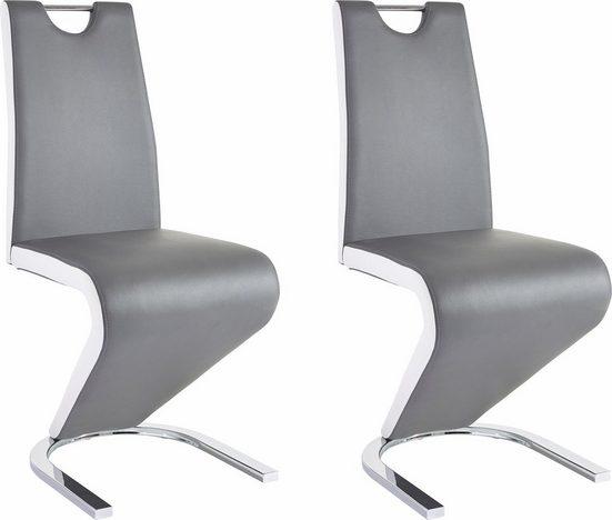 Homexperts Esszimmerstuhl »Zora 01« (Set, 2 Stück), Bezug in Kunstleder, mit weiß abgesetzten Seiten