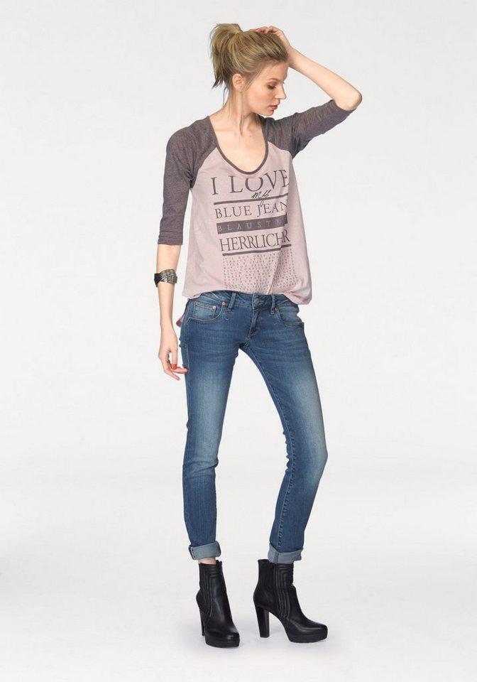 Herrlicher 3/4-Arm-Shirt »Emilia« mit großem Frontprint in rosé-bordeaux