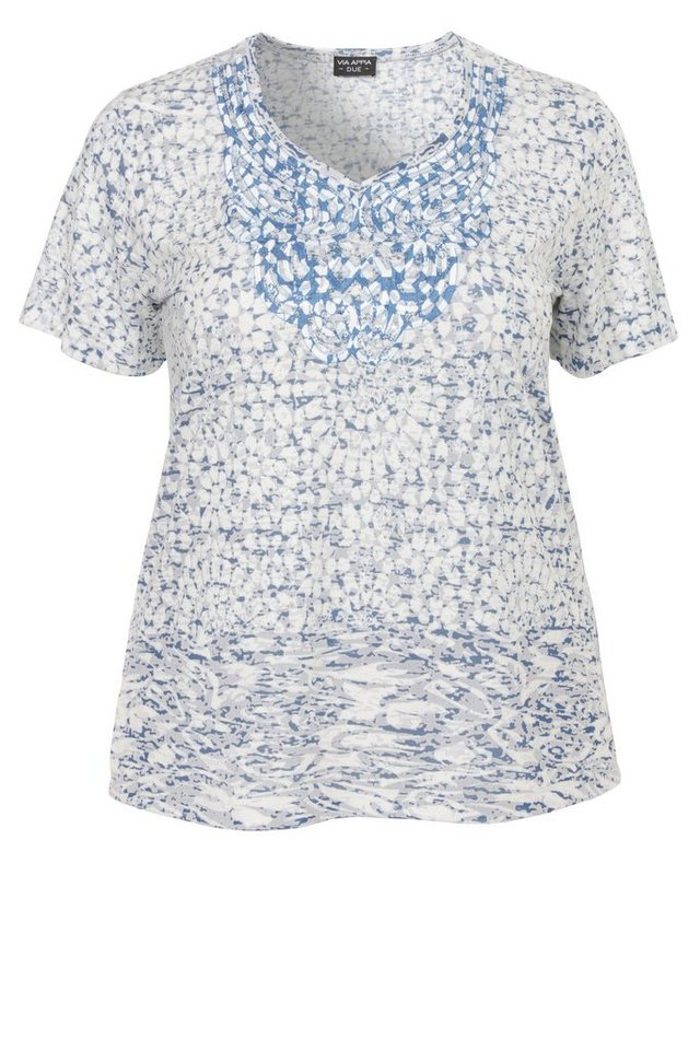 VIA APPIA DUE Ausbrenner T-Shirt »Ethno goes Summer« in CHINA BLAU