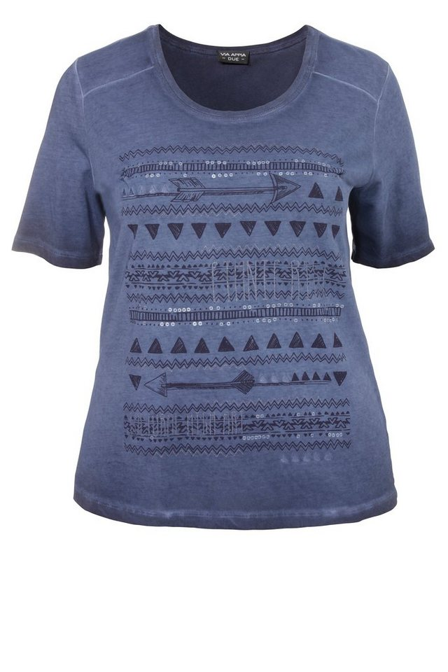 "VIA APPIA DUE Baumwoll-T-Shirt »""Happy Summer""« in DUNKELBLAU"