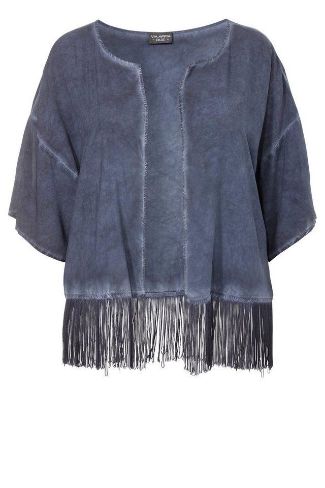 VIA APPIA DUE Sommerleichter Kimono mit langen Fransen in DUNKELBLAU