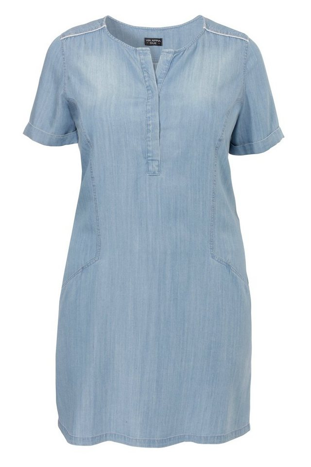 VIA APPIA DUE Sommerleichtes Kleid in hell verwaschener Jeans-Optik in JEANS HELLBLAU