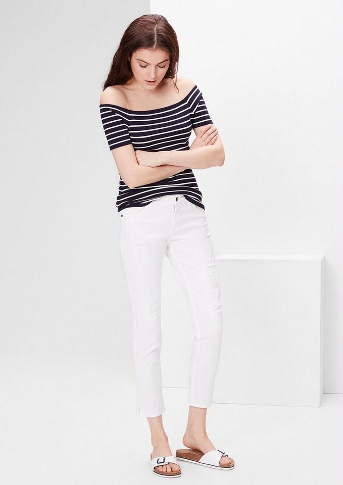 s.Oliver RED LABEL Shape Ankle: Destroyed Jeans in white denim stretch