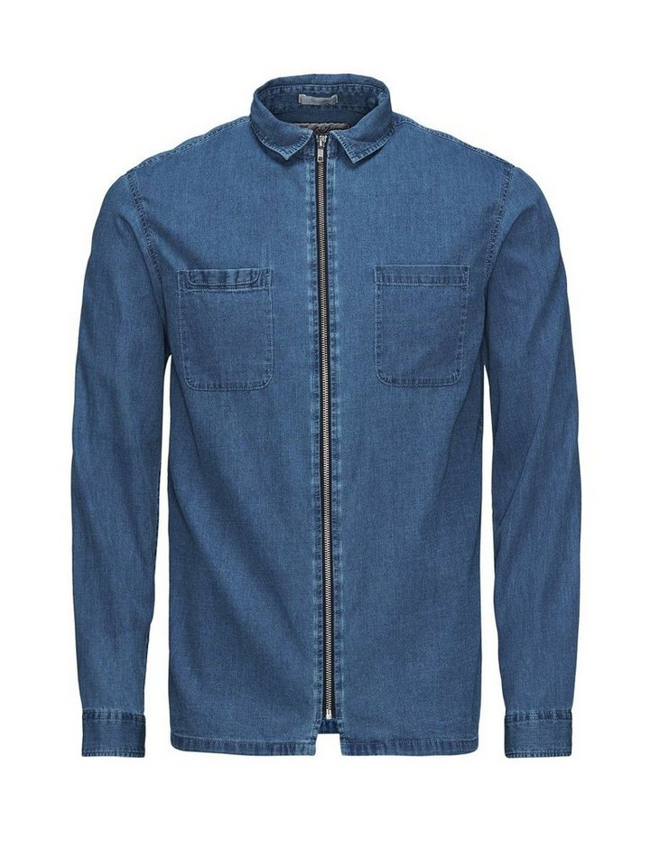 Jack & Jones Reißverschluss-Jeans- Langarmhemd in Light Blue Denim