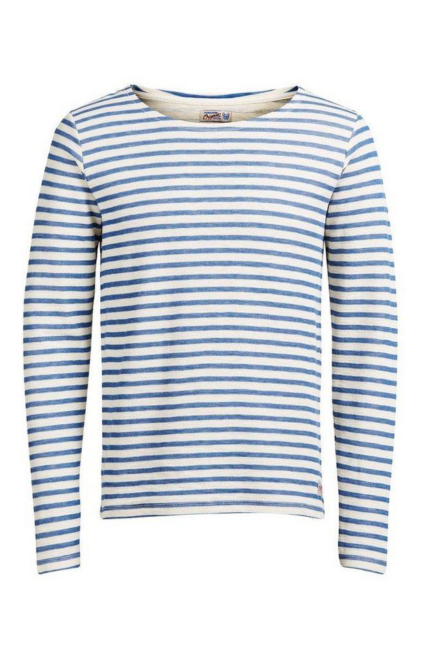 Jack & Jones Klassisch gestreiftes Sweatshirt in Mykonos Blue