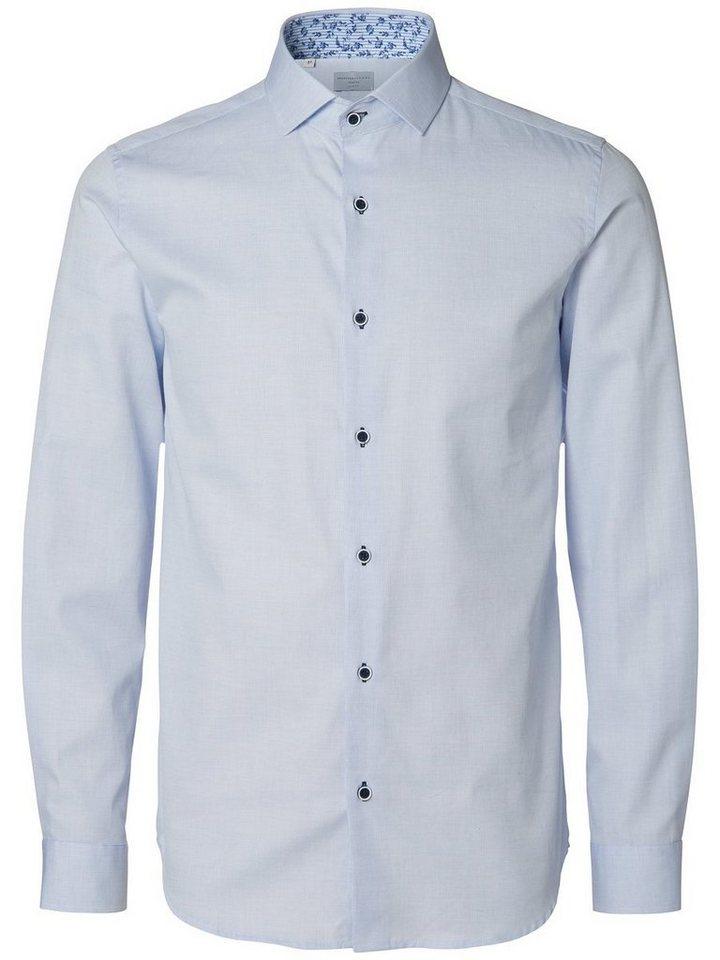Selected Slim-Fit- Langarmhemd in Light Blue