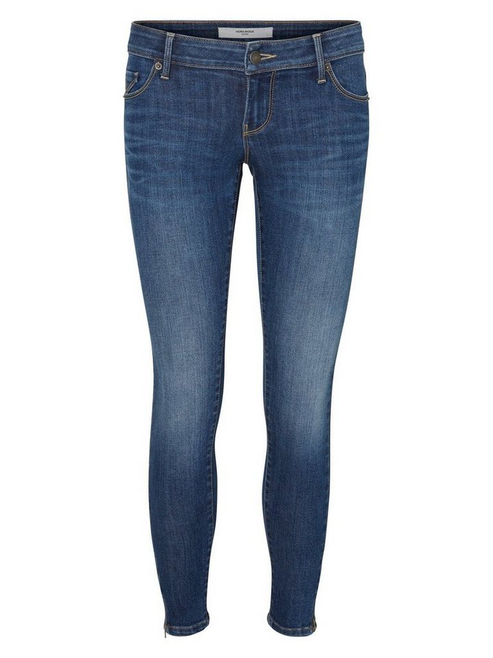 Vero Moda Five LW Ankle Skinny Fit Jeans in Medium Blue Denim
