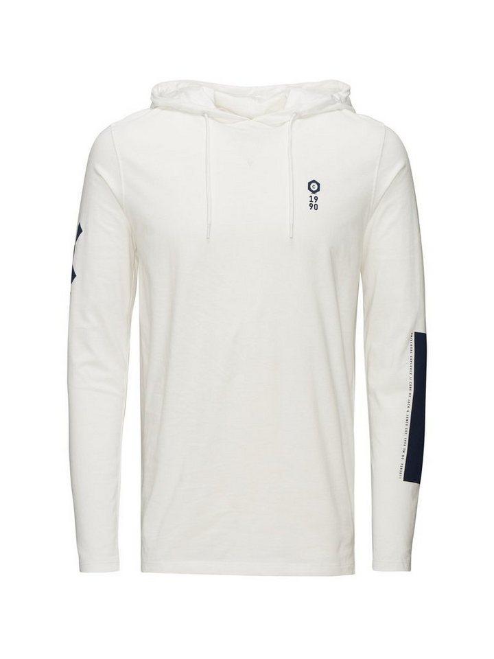 Jack & Jones Kapuzen- T-Shirt mit langen Ärmeln in Blanc de Blanc