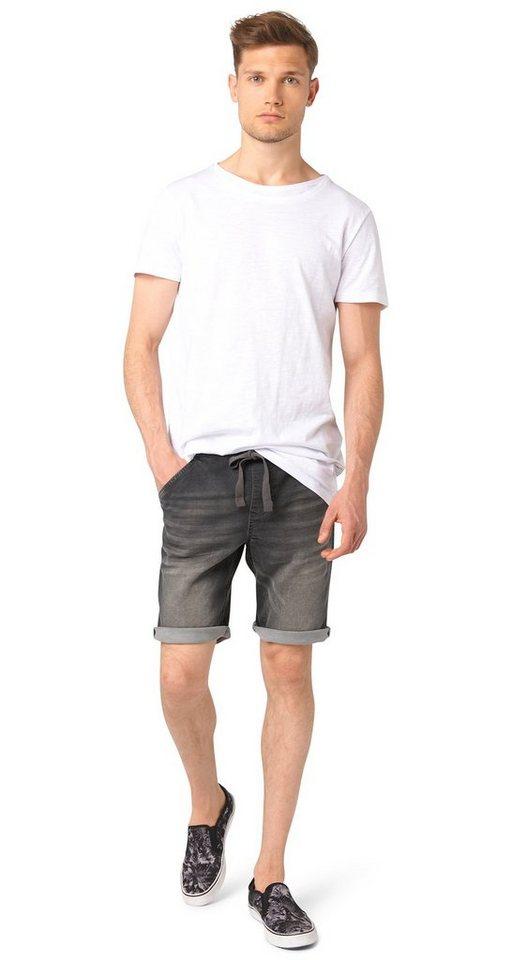TOM TAILOR DENIM Shorts »AEDAN slim grey jogger bermuda« in grey denim