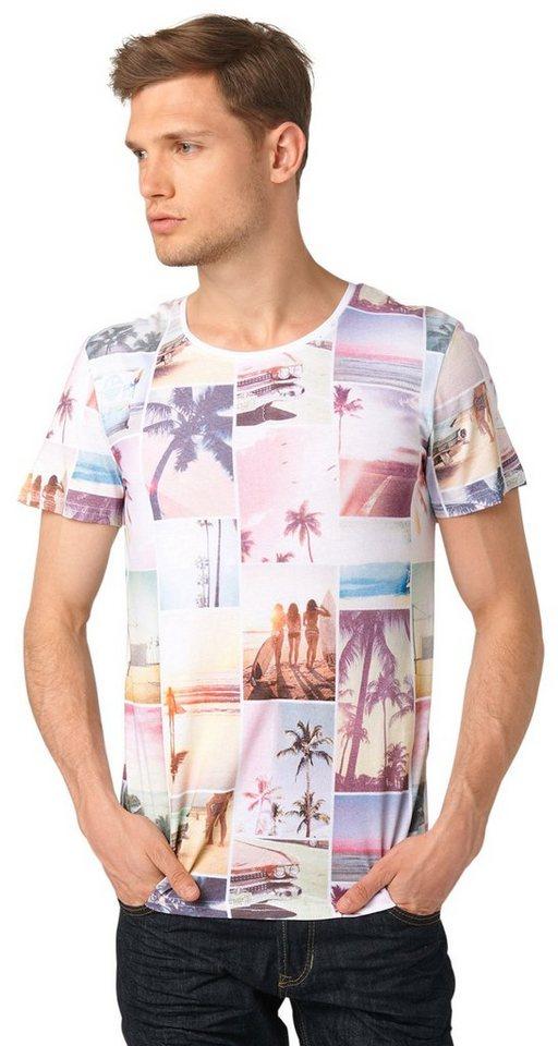 TOM TAILOR DENIM T-Shirt »summer panelprint crewneck« in white