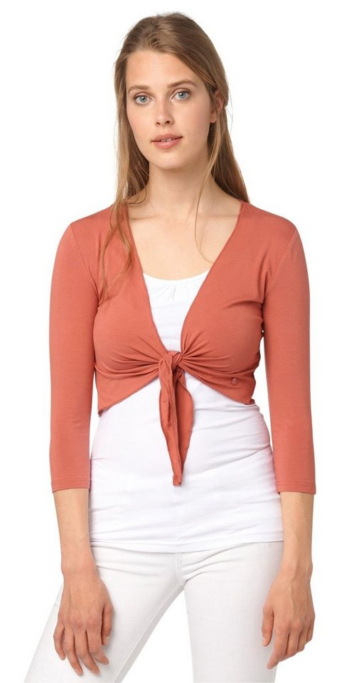 TOM TAILOR T-Shirt »Jersey-Bolero zum Knoten« in terracotta red