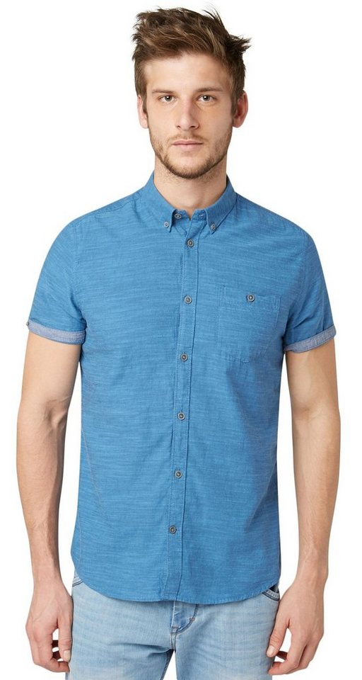TOM TAILOR Hemd »sportliches Chambray Hemd« in ensign blue
