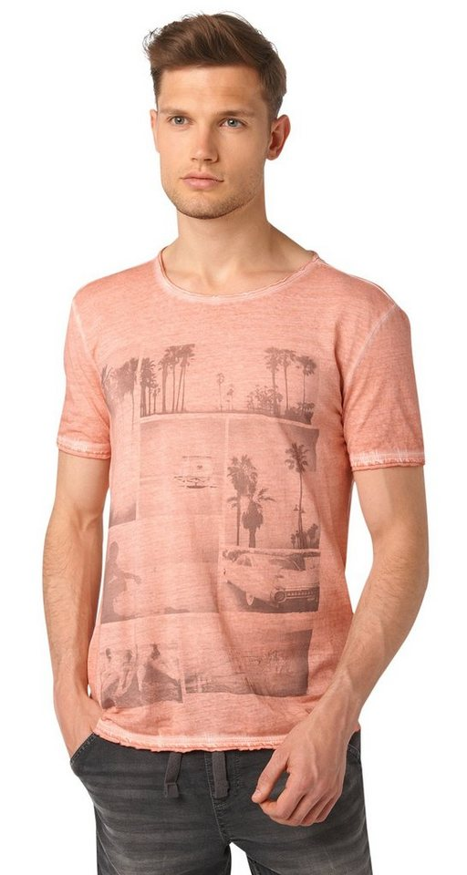 TOM TAILOR DENIM T-Shirt »T-Shirt mit Print im Used-Look« in dusty salmon red