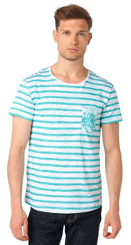 TOM TAILOR DENIM T-Shirt »stripe/tropical printed tee« in waterfall green